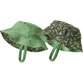 Patagonia Sun Chapeau seau Enfant, alligators and bullfrogs/kale green